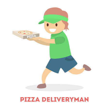 Little child in courier uniform holding pizza box. Food delivery service. Preschooler have fun. Flat vector illustration