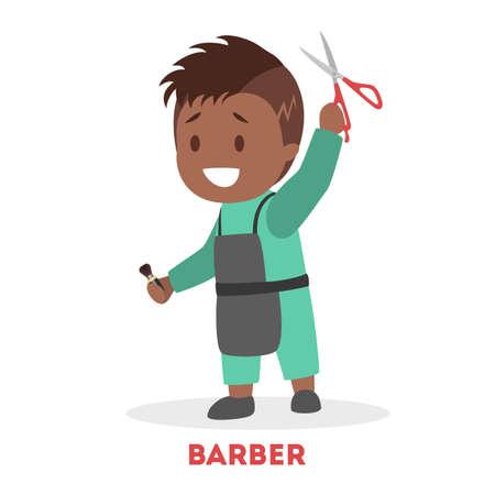 Niño jugando como barbero. Niño en delantal con tijeras. Pequeña peluquera. Carácter lindo. Ilustración vectorial plana