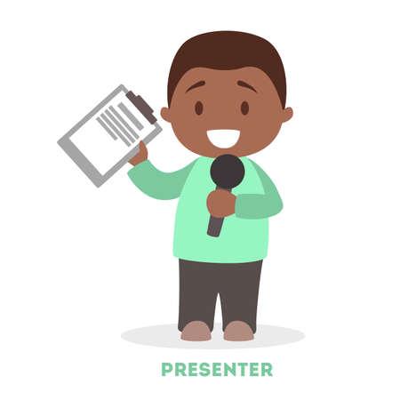 Mały chłopiec prezenter. Młoda postać stojąca z mikrofonem. Reporter telewizyjny. Zawód kotwica. Ilustracja na białym tle płaski wektor