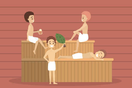 Man in sauna. Wooden bathhouse. Spa and relax procedure. Different tool for sauna. Smiling guy in towel. Isolated flat vector illustration