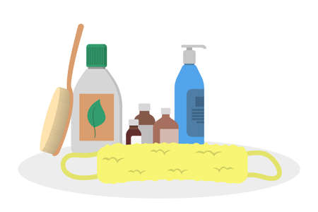 Bathroom equipment for hygiene. Shampoo bottle for hair and shower gel. Isolated flat vector illustration