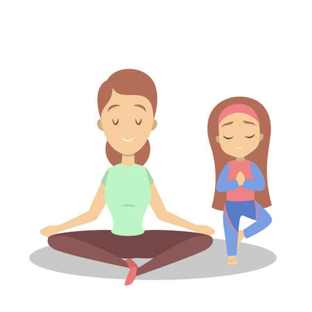 Mother and daughter doing yoga exercise. Healthy and active lifestyle. Parent and child in meditate in lotus position. Isolated flat vector illustration