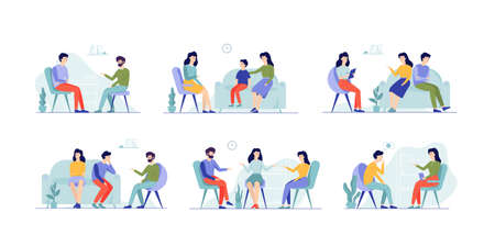 People at psychologist set. Family on consultation with therapist. Patient with mental health problem. Stress and depression, conflict. Isolated flat vector illustration