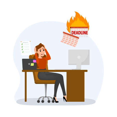 Deadline concept set. Idea of many work and few time. Employee in a hurry. Panic and stress in office. Business problems. Flat vector illustration