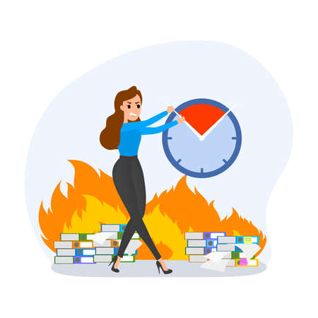 Deadline concept set. Idea of many work and few time. Employee in a hurry. Panic and stress in office. Business problems. Flat vector illustration Reklamní fotografie - 118989360