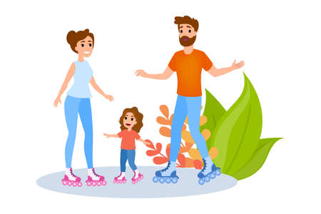 Family rollerskating. Summer outdoor activity. Mother, father and kid have fun together. Healthy and active lifestyle. Isolated vector illustration in cartoon style Illustration