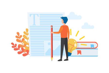 Copywriter concept. Idea of writing texts, creativity Ilustración de vector