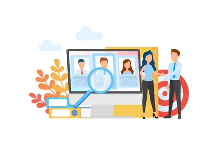Recruitment concept set. Idea of employment and human resources. Find candidate for a job. Vacant place. Vector illustration in cartoon style Stock Illustratie