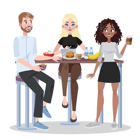 Leute im Büro essen zusammen zu Mittag. Gruppe von Arbeitern essen und reden. Kaffeepause mit Kollegen. Lächelnde Geschäftsleute. Vektorillustration im Cartoon-Stil Vektorgrafik