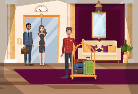 Hotelhalle oder Korridorinnenraum. Arbeiter in Uniform mit Gepäck. Luxusmöbel im Zimmer. Leute stehen am Aufzug. Vektorillustration im Cartoon-Stil