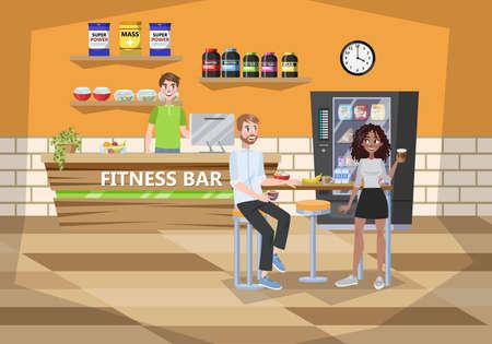 Fintess centre cafe interior. Healthy food illustration Banque d'images - 119162750