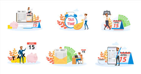Tax concept banner set. Idea of accounting and payment. Financial bill. Data in the document and paperwork. Flat vector illustration Ilustrace