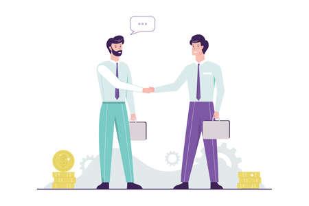 Zwei Personen, die sich die Hände schütteln. Geschäft und Partnerschaft. Idee von Teamarbeit und Vereinbarung. Isolierte Vektor-Illustration im Cartoon-Stil.