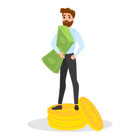 Businessman with money. Happy successfull man stand on a pile of money. Financial well-being. Isolated vector illustration in cartoon style