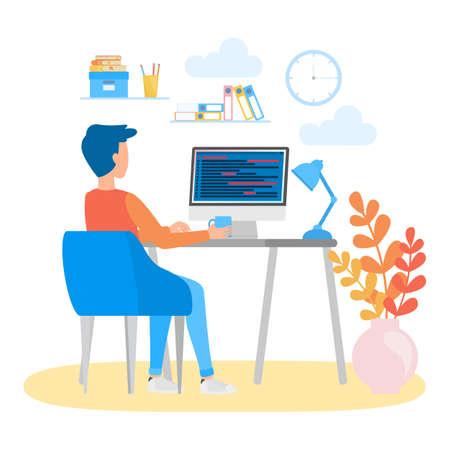 Programmeur assis au bureau et travaillant sur un ordinateur portable. Lieu de travail de développeur Web. Programmation de logiciels. Illustration vectorielle isolée en style cartoon