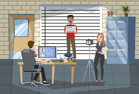 Interior de la oficina de la estación de policía. El oficial de policía en uniforme toma una foto del sospechoso. Ley y justicia, sistema legal. Soporte criminal en la pared. Ilustración vectorial en estilo de dibujos animados