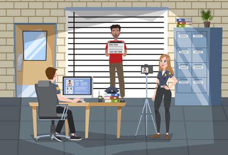 Interno dell'ufficio della stazione di polizia. L'ufficiale di polizia in uniforme fa la foto del sospetto Diritto e giustizia, sistema giuridico. Stand criminale al muro. Illustrazione vettoriale in stile cartone animato
