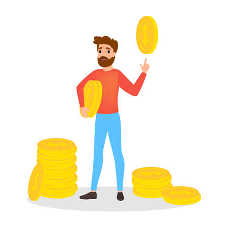 Businessman with money. Happy successfull man stand at a pile of money. Financial well-being. Isolated vector illustration in cartoon style