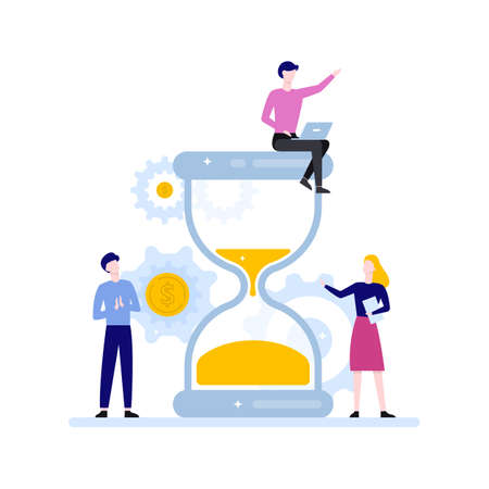 Time management concept. Idea of schedule and organization. Productive day and work optimization. Isolated flat vector illustration Ilustração