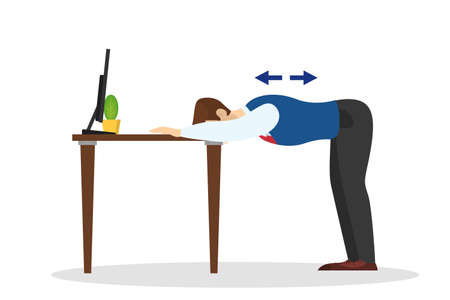 Man doing exercise for back stretch in office Illustration