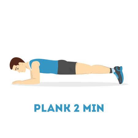 Man doing plank in the gym. Belly burn