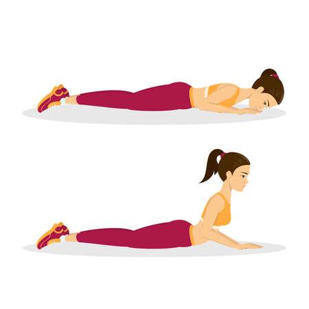 Donna che fa esercizio di estensione della schiena. Allungamento della schiena