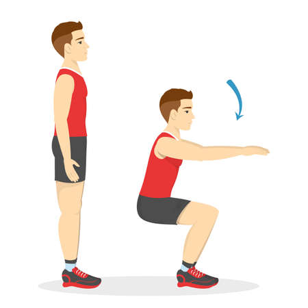 Man making squats. Exercise for butt. Leg workout