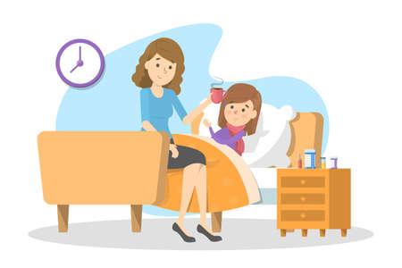 Mutter gibt einem kranken Kind mit Fieber heißen Tee