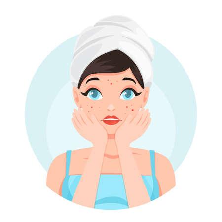 Femme triste avec de l'acné sur le visage