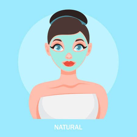Face mask. Woman with natural facial mask 向量圖像