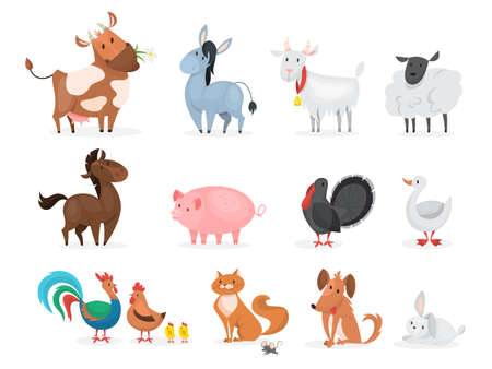 Cute farm animals set. Goat, cow, ship Ilustracja