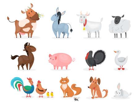Cute farm animals set. Goat, cow, ship Illustration