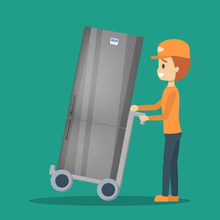 Delivery man in uniform with refrigerator. Courier Ilustração Vetorial