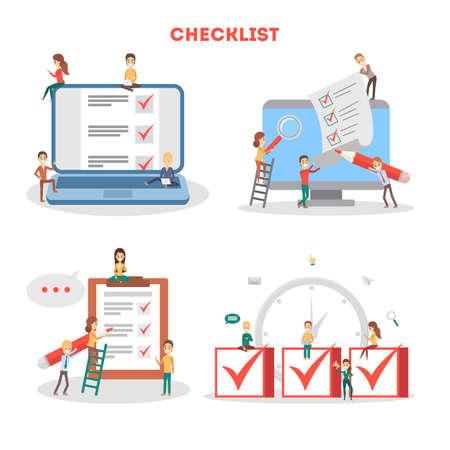 Checklist concept set. People make checkmark on clipboard