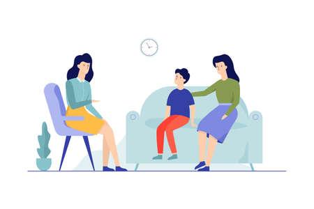 Madre con niño sentado en el sofá hablando con mujeres