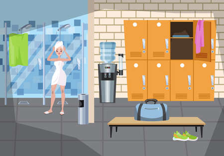 Woman standing in the towel after the shower. Locker room modern interior. Closet and bench with bag on it. Vector illustration in cartoon style