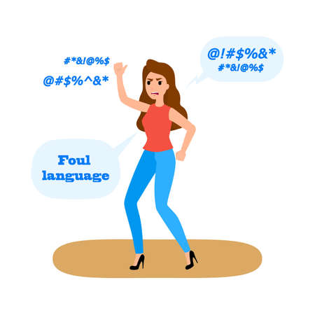 Foul language and swear words. Woman with bad behavior speaking with dirty words. Flat vector illustration