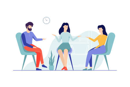 Family couple sitting on the chairs talking to female psychologist. Visit to psychiatrist and depression treatment. Mental health professional. Isolated flat vector illustration Stockfoto - 124129797