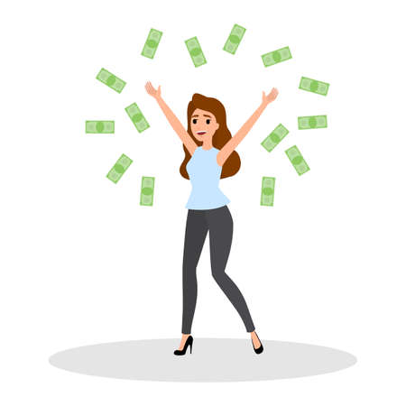 Business woman with money. Happy successfull woman jumping with money banknotes. Financial well-being. Isolated vector illustration in cartoon style 일러스트