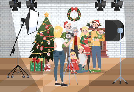 Happy family making photoshoot on the christmas or new year background. Parent and child stand together. Various equipment such as softbox and camera. Isolated flat vector illustration