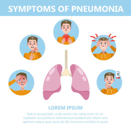 Pneumonia symptoms infographic. Cough and pain in chest. Respiratory system disease. Infection of lung. Idea of healthcare and medical treatment. Vector illustration in cartoon style