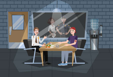 Police station building interior. Police officer in uniform working. Detective in office make investigation and interrogation with suspect. Vector illustration in cartoon style