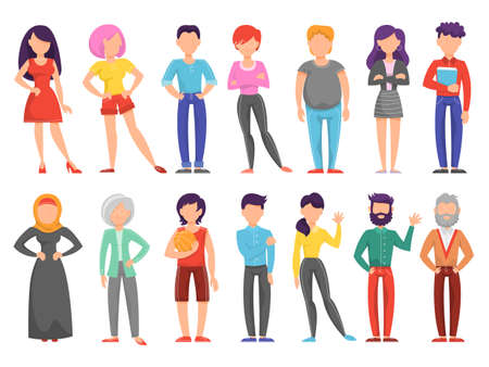 People set. Collection of different person with various appearance. Diversity concept. Young man and woman. Isolated vector illustration in cartoon style
