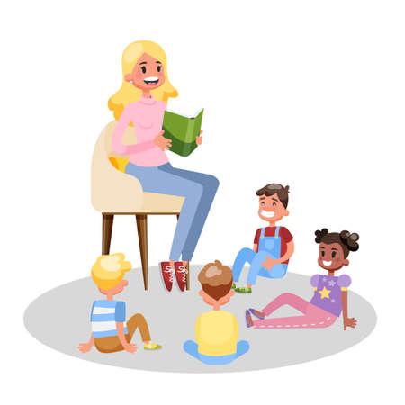 Teacher read book for group of preschool children Illustration