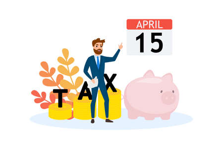 Tax concept. Idea of accounting and payment. Financial bill. Data in the document and paperwork. Flat vector illustration Vector Illustration