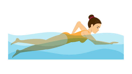 Woman swimming in the pool. Exercise to relieve back pain. Swimmer training. Young athlete. Isolated vector illustration in cartoon style