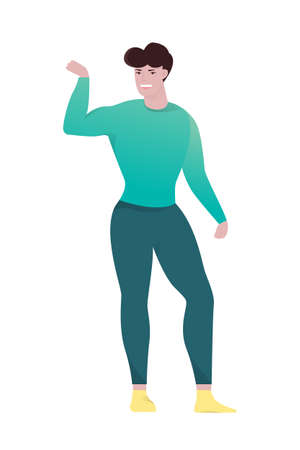 Fit handsome man showing his biceps. Athletic person. Idea of active and healthy lifestyle. Vector illustration in cartoon style