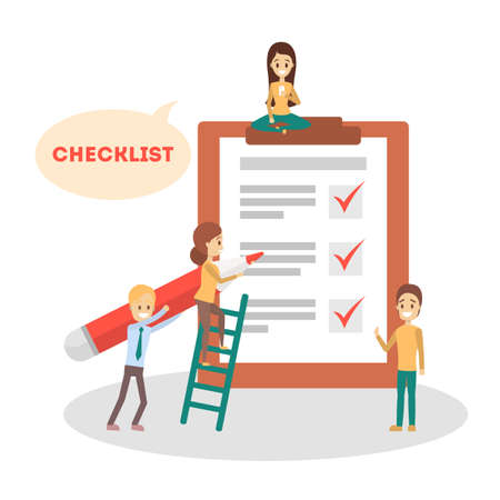 Checklist concept. People make checkmark on clipboard. Test or questionnaire, to do list. Achievement sign. Isolated flat vector illustration