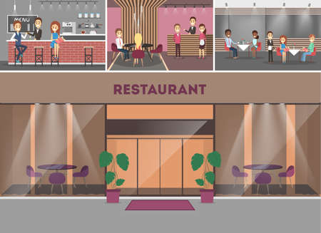 Restaurant building interior. People sitting at the table and eating food. Waiter in the uniform. Luxury furniture. Flat vector illustration