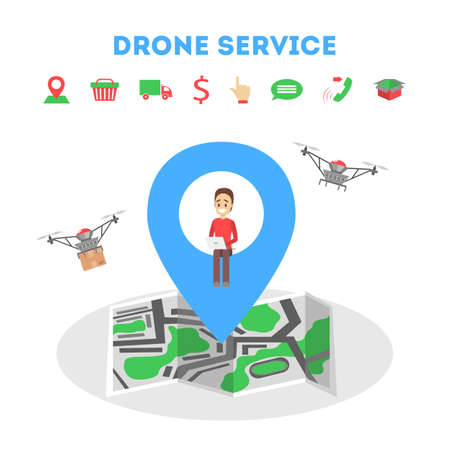 Droner delivery service concept. Fast transportation to client  イラスト・ベクター素材